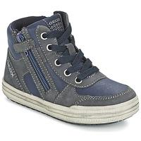 Shoes Boy Hi top trainers Geox ELVIS Blue / Grey