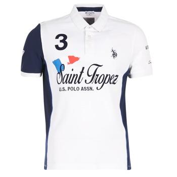 Clothing Men short-sleeved polo shirts U.S Polo Assn. SAINT TROPEZ POLO White