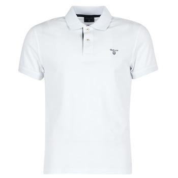 Clothing Men short-sleeved polo shirts Gant CONTRAST COLLAR PIQUE White