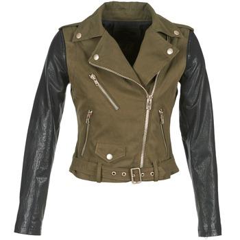 Clothing Women Leather jackets / Imitation leather Diesel L-LUPUS-C KAKI / Black
