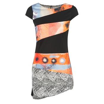 Clothing Women Short Dresses Smash SERPENS Black / Orange / Grey