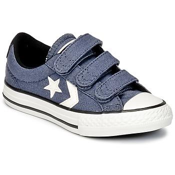 Shoes Boy Low top trainers Converse STAR PLAYER 3V VINTAGE CANVAS OX Blue / BEIGE / Black