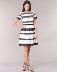 Clothing Women Short Dresses MICHAEL Michael Kors GRAPHIC CR STRIPE DRS Black / White