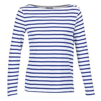 Clothing Women Long sleeved tee-shirts Petit Bateau FIX White / Blue