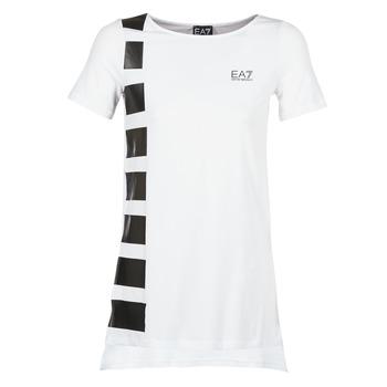 Clothing Women Tunics Emporio Armani EA7 TRAIN MASTER White / Black
