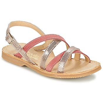 Shoes Girl Sandals Citrouille et Compagnie GENTOU Pink / Silver