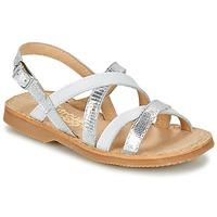 Shoes Girl Sandals Citrouille et Compagnie GENTOU White / Silver