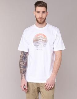 Clothing Men short-sleeved t-shirts Columbia CSC MOUNTAIN SUNSET White