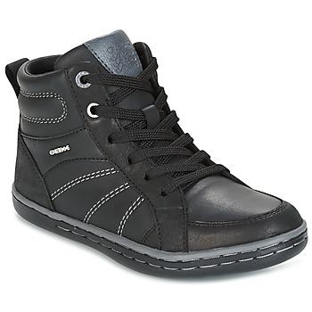 Shoes Boy Hi top trainers Geox J GARCIA B. B Black / Grey