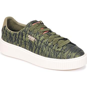 Shoes Women Low top trainers Puma Basket Platform Bi Color Kaki