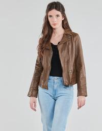 Clothing Women Leather jackets / Imitation leather Oakwood VIDEO Cognac