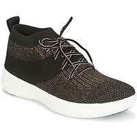 Shoes Women Hi top trainers FitFlop UBERKNIT SLIP-ON HIGH TOP SNEAKER Black / Bronze