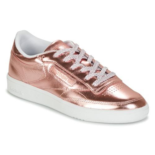 bc846817e3a8b Shoes Women Low top trainers Reebok Classic CLUB C 85 S SHINE Pink   Metal