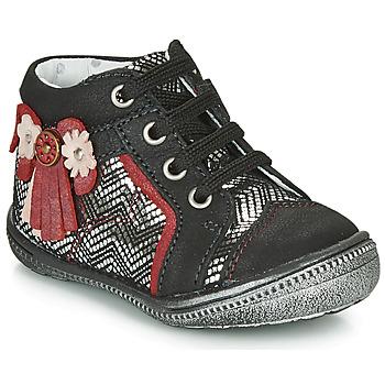 Shoes Girl Mid boots Catimini RHUBARBE Black / Silver