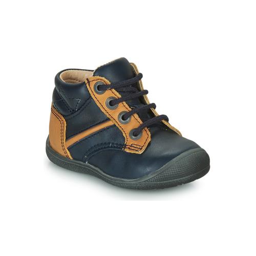 Shoes Boy Mid boots Catimini RATON Marine / Ocre tan