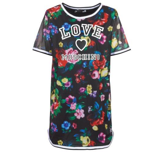 Clothing Women Short Dresses Love Moschino W5A0302 Black / Multicolour