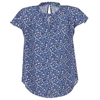 Clothing Women Tops / Blouses Benetton TOULEOK Blue / White