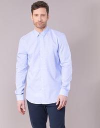 Clothing Men long-sleeved shirts Sisley KELAPSET Blue / Clear