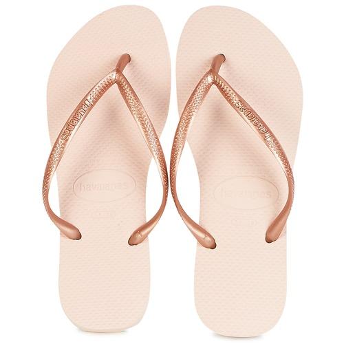 Shoes Women Flip flops Havaianas SLIM Pink / Gold