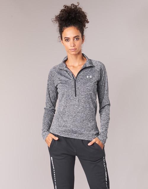 Clothing Women Long sleeved tee-shirts Under Armour TECH 1/2 ZIP TWIST Black
