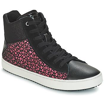 Shoes Girl Hi top trainers Geox J KALISPERA GIRL Black / Pink