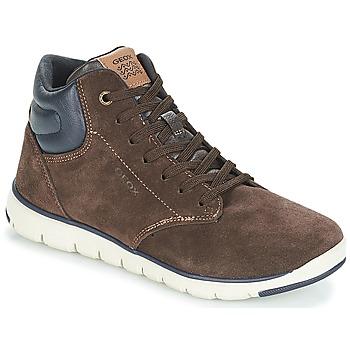 Shoes Boy Hi top trainers Geox J XUNDAY BOY Brown / Marine