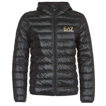 Clothing Men Duffel coats Emporio Armani EA7 TRAIN CORE ID M DOWN LIGHT Black / Gold