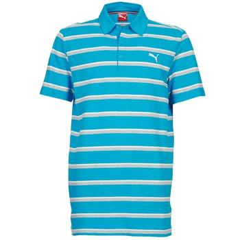 Clothing Men short-sleeved polo shirts Puma FUN STRIPE PIQUE POLO Blue / White / Grey