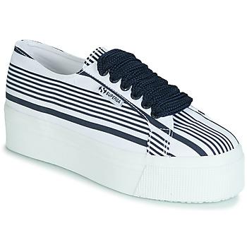 Shoes Women Low top trainers Superga 2790 COT MULTI STRIPE W White