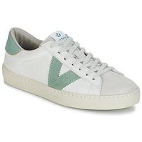 Shoes Men Low top trainers Victoria BERLIN PIEL CONTRASTE White / Green